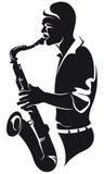 Saxofonista, silhueta Imagens de Stock