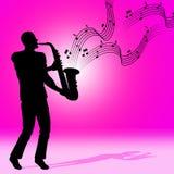 Saxofonmusik visar det solida spåret och akustiskt Arkivbilder