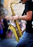 Saxofonspelare Royaltyfria Bilder