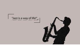 Saxofonspelaren som sjunger en sång, jazz är ett livsföringcitationstecken vektor illustrationer