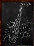 Saxofonteckning som skissar på svart tavla vektor illustrationer