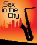 Saxofoon in de stad Royalty-vrije Stock Afbeelding