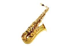 Saxofoon die op wit wordt geïsoleerde Royalty-vrije Stock Afbeelding