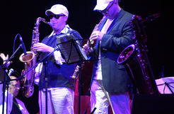 saxofoon duo Royalty-vrije Stock Foto's