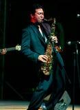 Saxofoonmens Stock Foto's