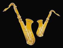 Saxofoons Stock Afbeeldingen