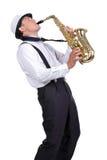 Saxofoonspeler Stock Foto's