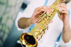 Saxofoonspeler Stock Afbeelding