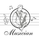 Saxofoonspeler De musicus speelt het instrument stock illustratie
