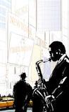 Saxofoonspeler in een straat van New York dichtbij Times Square royalty-vrije illustratie