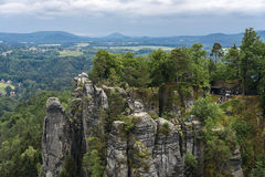 Saxon взбираться Швейцарии парка и пешая область Стоковые Фото