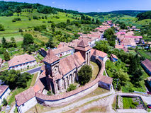Saxon Church in Valea Viilor Transylvania Romania. Aerial shot w Royalty Free Stock Photo