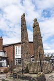 The Saxon Crosses on the Market Square of Sandbach Stock Photography