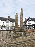 Saxon Crosses. In the market town of Sandbach Cheshire UK Royalty Free Stock Photography