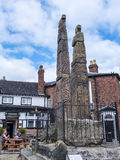 Saxon Crosses in the Picturesque Town of Sandbach in South Cheshire England Royalty Free Stock Photography