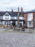 Saxon Crosses in the Picturesque Town of Sandbach in South Cheshire England Stock Image