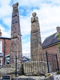 Saxon Crosses in the Picturesque Town of Sandbach in South Cheshire England Stock Images