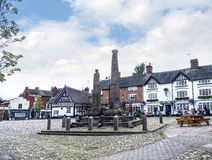 Saxon Crosses in the Picturesque Town of Sandbach in South Cheshire England Stock Photos