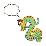 Saxon dragon cartoon with thought bubble Stock Images