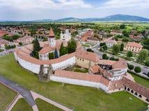 Saxon fortified church in Prejmer, Transylvania, Romania. Old Saxon Catholic Church near Brasov city royalty free stock image