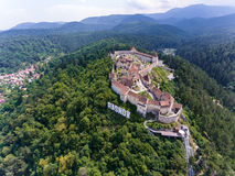 The Saxon fortress Rasnov near Brasov in Transylvania Romania. A. Erial photo shot with a drone Royalty Free Stock Image