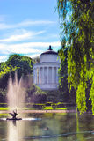 Saxon garden in Warsaw, Poland. Saxon garden with fountain and rotunda in Warsaw, Poland Stock Image
