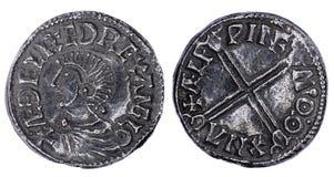 Saxon Penny Coin Isolated Fotografia Stock Libera da Diritti