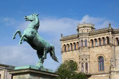 Saxon Steed and Leibniz University in Hannover Royalty Free Stock Photos