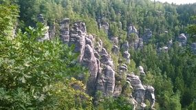 Saxon Switzerland. German: Sächsische Schweiz is a hilly climbing area and national park around the Elbe valley south-east of Dresden in Saxony, Germany Royalty Free Stock Photo