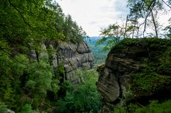Saxon Switzerland rocky and green trees landscape royalty free stock photography