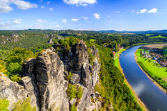 Saxon Switzerland. View from the abbey Bastei. Autumn colors at Bastei, Dresden area Royalty Free Stock Image