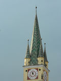 Saxon tower in Medias, Romania. Medieval German Lutheran church of Medias, Romania Royalty Free Stock Photos