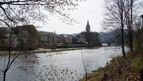 Saxon town in Zschopau Valley. Town hall and homes from Waldheim at the Zschopau River in Saxony, Germany, the Zschopau valley in spring Stock Photography