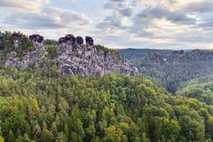 Saxonian Swiss Rock Formation near Dresden Royalty Free Stock Photo