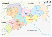 Saxony administrative and political map in german language Stock Photo