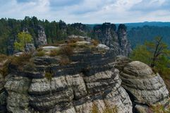 Saxony rocks, Germany. View of a beautiful Saxony Switzerland in Germany Stock Photo
