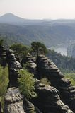 Saxony Switzerland. View from the Schrammsteine in the Elbsandsteingebirge, Saxony Switzerland Royalty Free Stock Photos