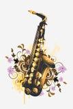 Saxophon auf einem Blumenhintergrund lizenzfreie abbildung