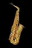 Saxophon auf Schwarzem Stockfoto