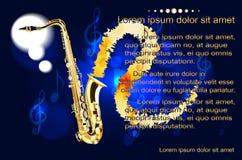 Saxophon, der Text auf dem Hintergrund von musikalischen Anmerkungen Stock Abbildung
