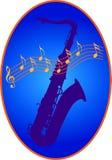 Saxophon e notas ilustração do vetor