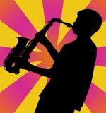 Saxophon-Mann-Schattenbild Stockfotos
