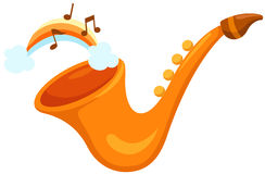 Saxophon mit Regenbogen Lizenzfreie Stockfotos