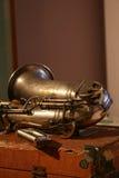 saxophone αρπών μπλε Στοκ φωτογραφία με δικαίωμα ελεύθερης χρήσης