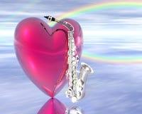 saxophone καρδιών Στοκ φωτογραφίες με δικαίωμα ελεύθερης χρήσης