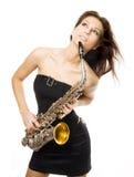 saxophone κοριτσιών προκλητικό Στοκ Εικόνες