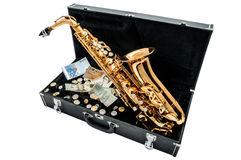 Saxophone με τα χρήματα Στοκ φωτογραφία με δικαίωμα ελεύθερης χρήσης