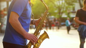 Saxophone μουσικής πόλεων απόθεμα βίντεο
