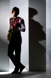 saxophone παιχνιδιού Στοκ Φωτογραφία