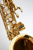 Saxophone 1. A golden alto saxophone Royalty Free Stock Photo